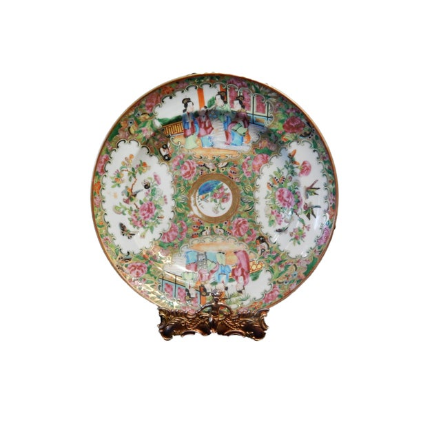 19th C Chinese Export Porcelain Rose Medallion Soup Plate For Sale - Image 11 of 11
