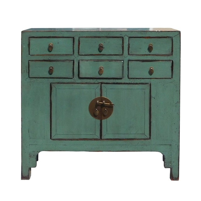 Gray Blue Lacquer 6-Drawer Credenza Cabinet For Sale