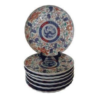 Japanese Floral Imari Plates - Set of 7 For Sale