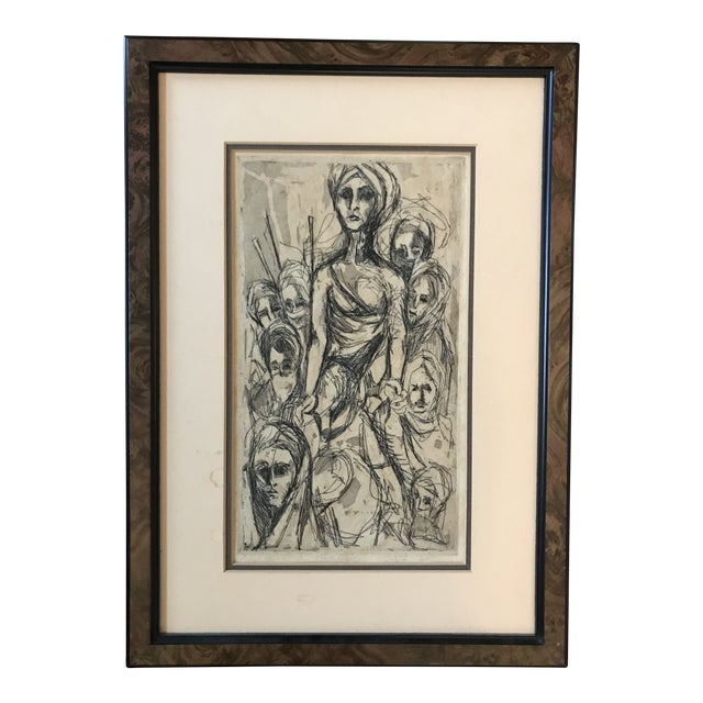 Mid Century Etching of People For Sale