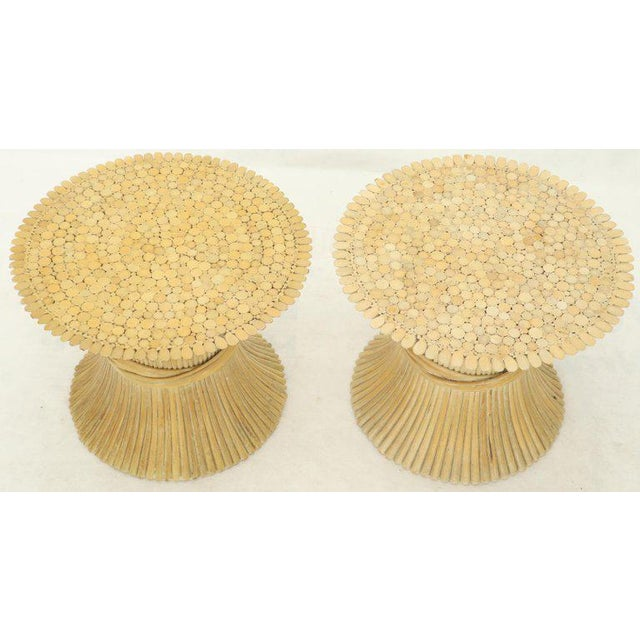 Pair of Sheaf of Bamboo Wheat Side End Occasional Tables Pedestals by McGuire For Sale - Image 9 of 10