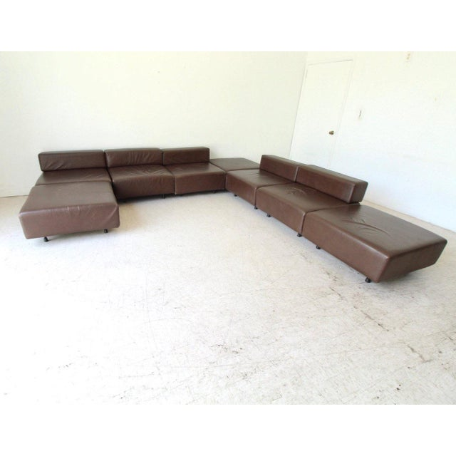 Mid-Century Modern Harvey Probber Leather Cubo Sectional Sofa For Sale - Image 3 of 7