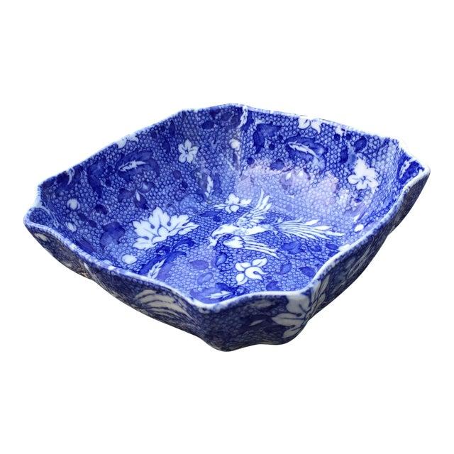 Vintage Blue Transferware Chintz Bird Bowl For Sale