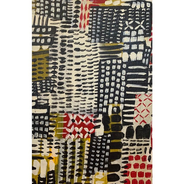 Abstract Mid-Century Inspired Framed Patchwork Style Painting For Sale - Image 3 of 4