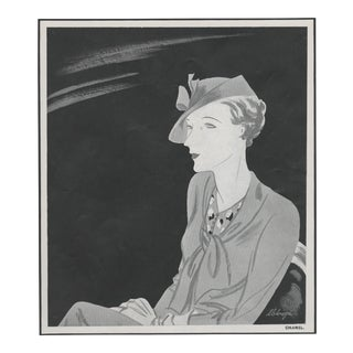 Matted Art Deco French Chanel Fashion Hat Design For Sale