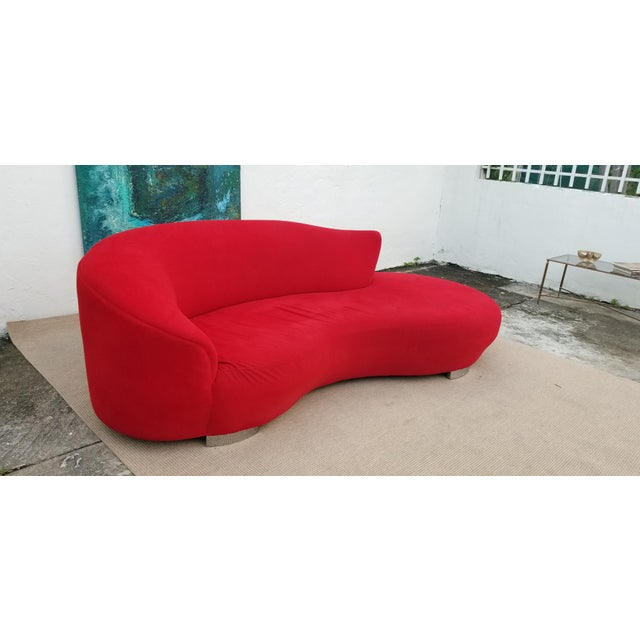 Mid-Century Modern Vladimir Kagan Red Velvet Serpentine Sofa . For Sale - Image 3 of 13