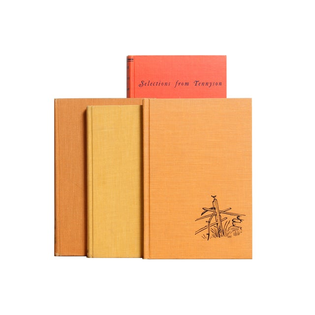 Set of 15 mid-century poetry-themed books in colorful shades of yellow and orange. Various authors and publishers:...