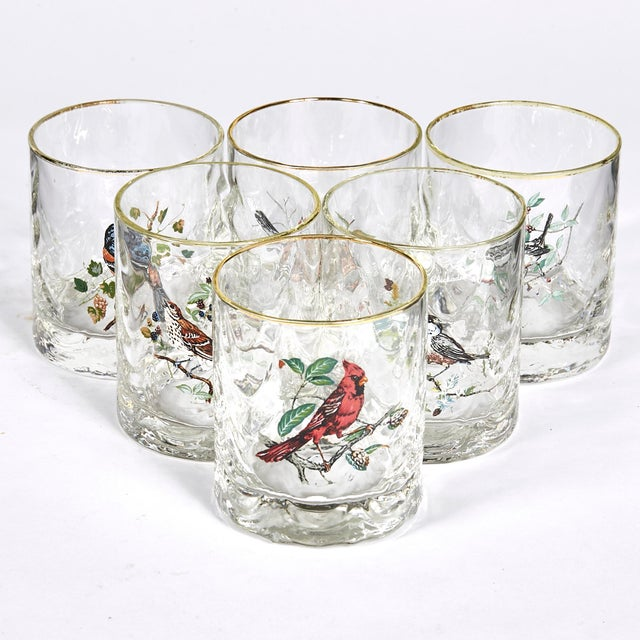 Mid-Century Modern 1960s Glass Bar Tumblers W/ Birds, Set of 6 For Sale - Image 3 of 5