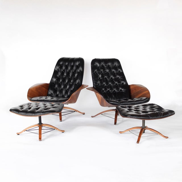 1960s Vintage 1st Edition Mr Chair by George Mulhauser for Plycraft Leather Lounge Chair For Sale In Charlotte - Image 6 of 12
