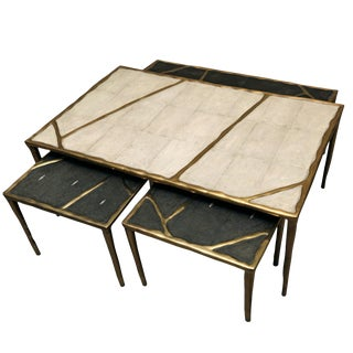 Melting Nesting Coffee Tables in Shagreen, Shell and Brass by R&y Augousti For Sale