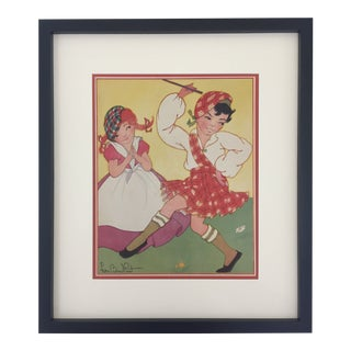 "Framed ""Jocky Was a Piper's Son"" Nursery Rhyme Print by Fern Bisel Peat For Sale"