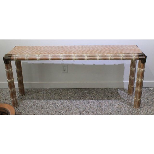 Vintage Console Table Faux Bamboo With Antique Brass Mounts For Sale - Image 13 of 13