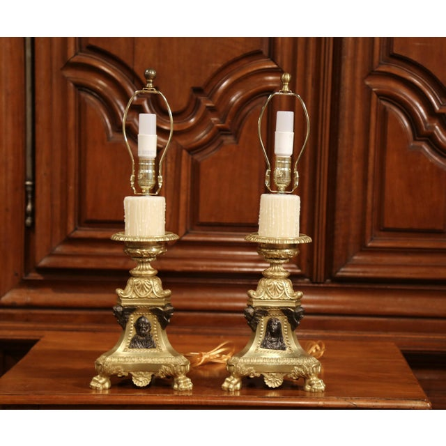 Late 19th Century 19th Century French Patinated Bronze Candlesticks Made Table Lamps - a Pair For Sale - Image 5 of 9