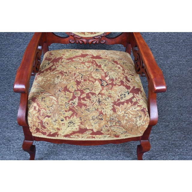 Antique Old World Ornately Carved Shield Back Arm Chair Burgundy Floral Tapestry For Sale - Image 9 of 13