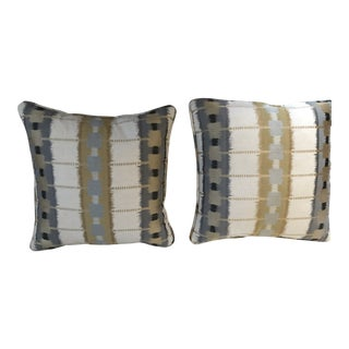 Thibaut Sri Lanka Embroidery Pillows - A Pair For Sale