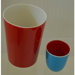 Japanese Fine Porcelain Sake Flask and Cups - Set of 4 Turquoise Blue Red and White Preview