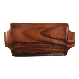 Mid Century Wooden Serving Tray For Sale