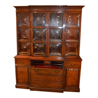 Vintage Two Piece Mahogany Regency Style Bubble Glass China Cabinet For Sale