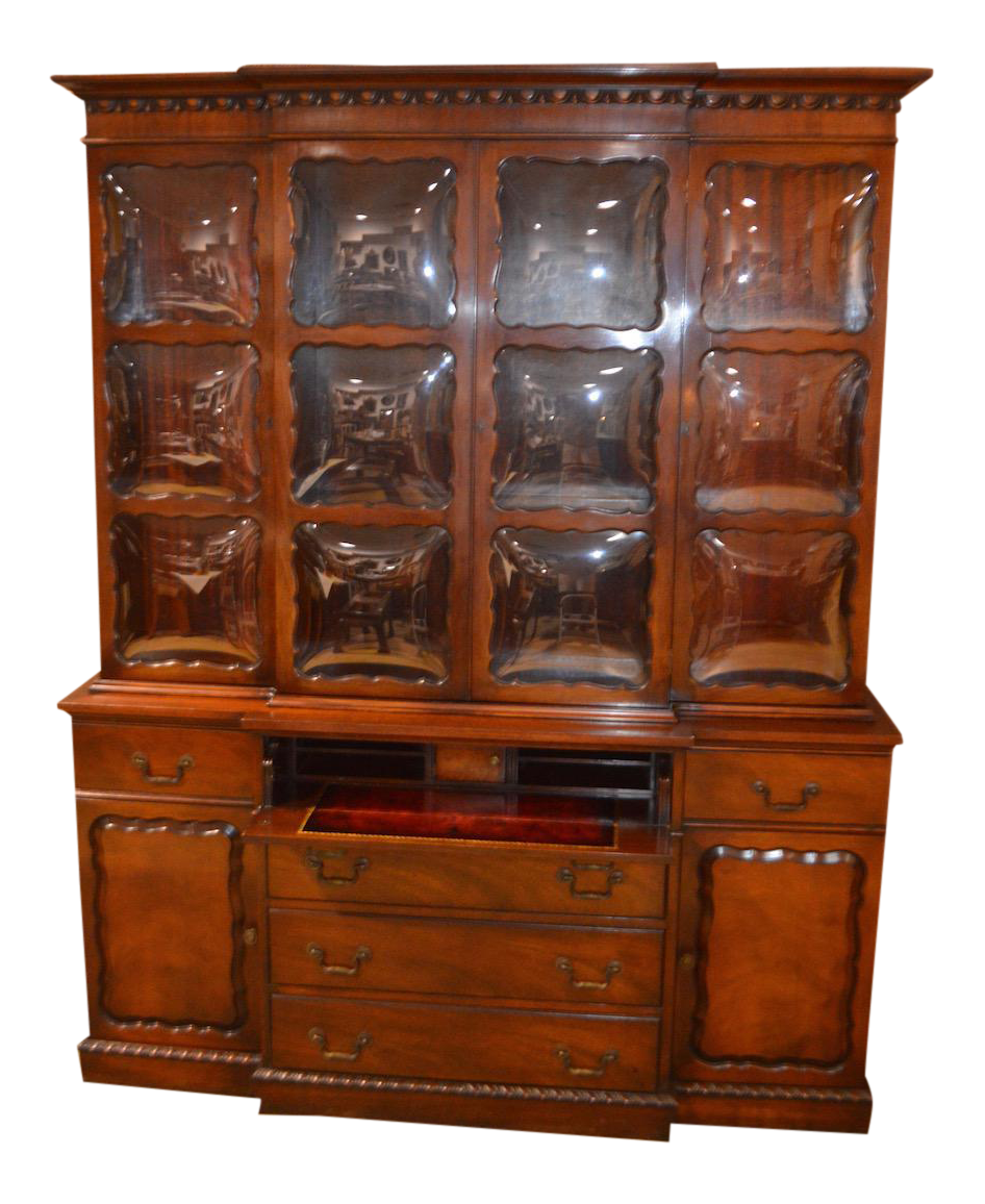 Vintage Two Piece Mahogany Regency Style Bubble Glass China Cabinet