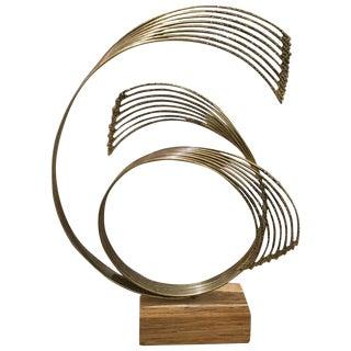 C. 1976 Curtis Jere Brass Sculpture on Wooden Base