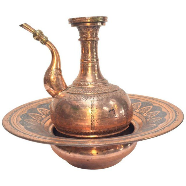 Middle Eastern Turkish Ewer and Copper Basin For Sale - Image 11 of 11