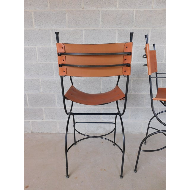 Metal Charleston Forge Wrought Iron Slight Leather Seat Bar Stools - a Pair For Sale - Image 7 of 13