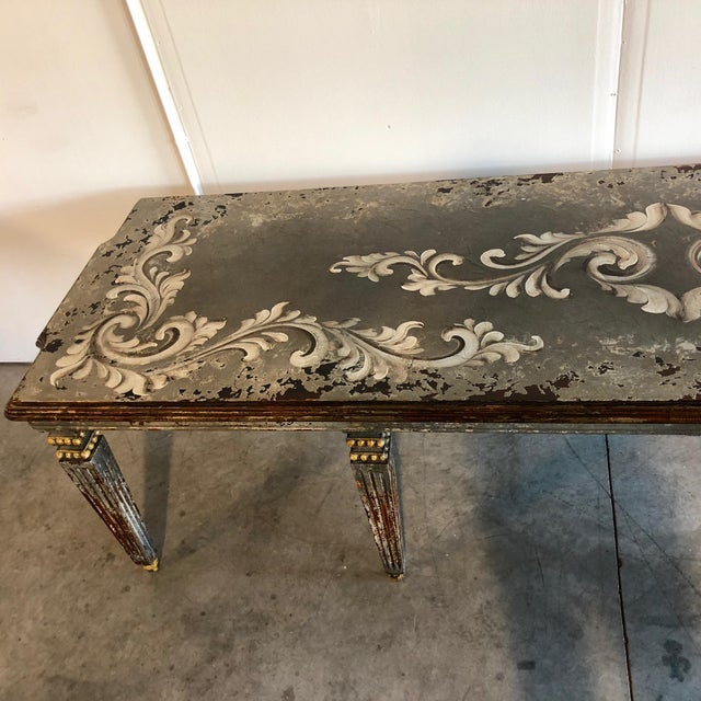 Rustic Hand Painted Dining Table For Sale - Image 3 of 6