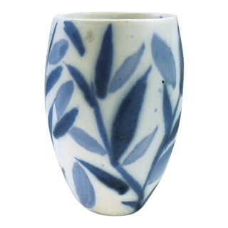 Andersen Design Blue Botanical Abstract Tumbler For Sale