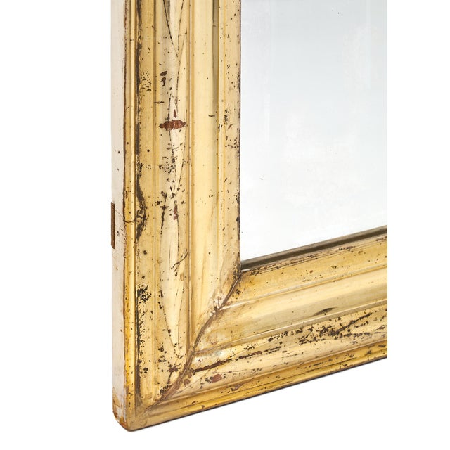 Wood 19th Century Antique French Gold Leaf Mirror For Sale - Image 7 of 10