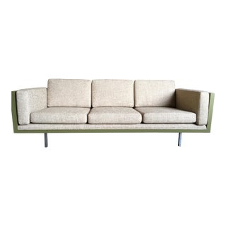 Milo Baughman for Thayer Coggin Green Leather Sofa For Sale