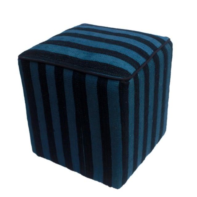 Boho Chic Arshs Donnetta Black/Blue Kilim Upholstered Handmade Ottoman For Sale In New York - Image 6 of 8