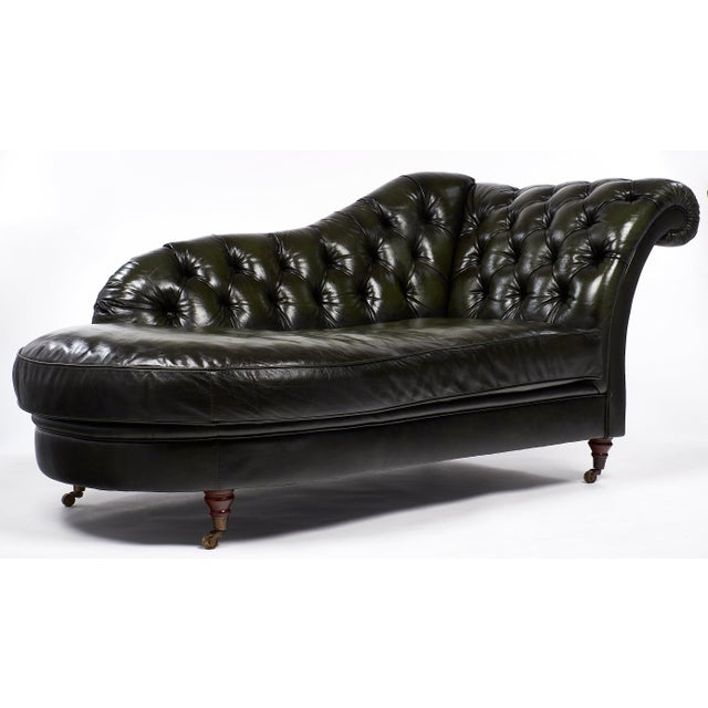 This Art Deco style leather tufted 'Chesterfield' méridienne is very unusual and stylish. The green leather is lovely and...