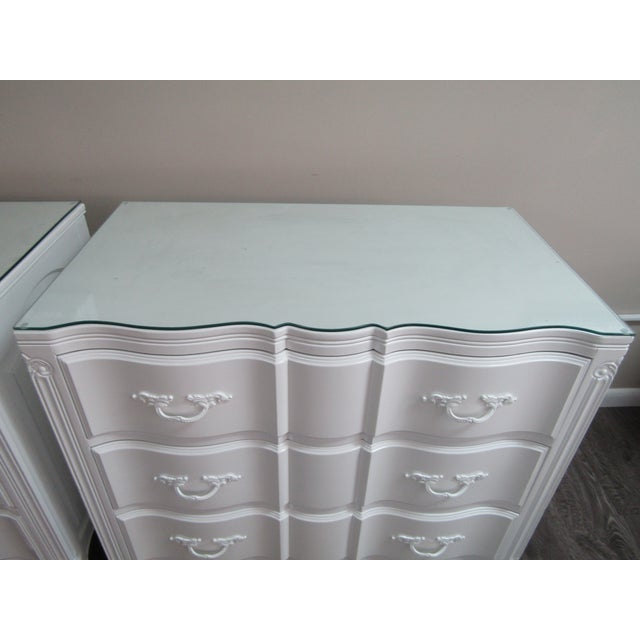 White Vintage French Glass Top Chest-A Pair For Sale - Image 8 of 9
