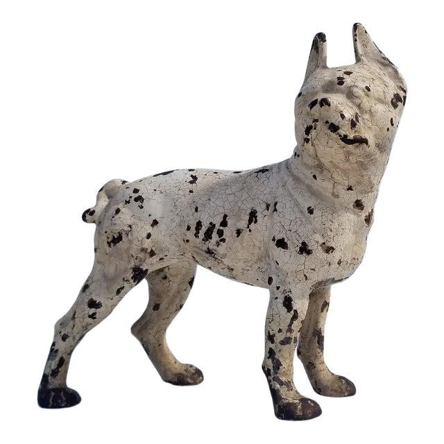 1930s Vintage White Cast Iron Boston Terrier Dog Sculpture / Doorstop For Sale