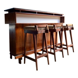 Erik Buch for Dyrlund Rosewood Dry Bar by Denmark 1960s Mid Century - Set of 4 For Sale