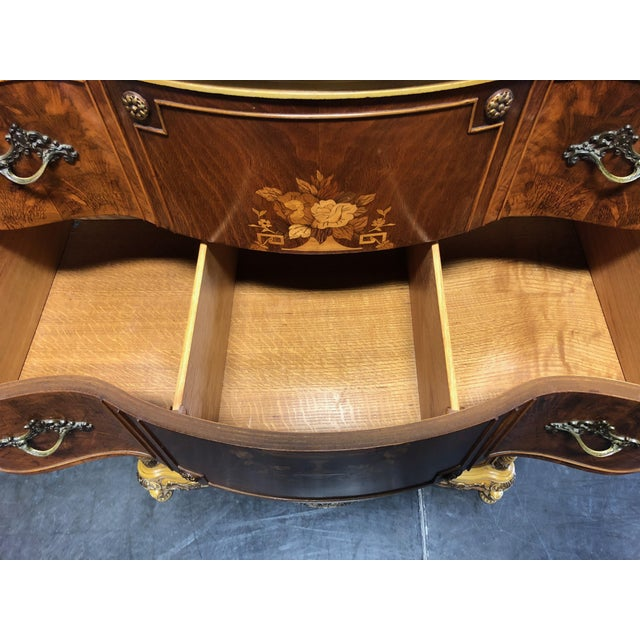 Vintage French Provincial Louis XV Style Inlaid Mahogany Chest on Chest For Sale - Image 11 of 13