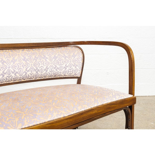Gold Antique Vienna Secessionist Gustav Siegel 715 for Kohn Loveseat Bench For Sale - Image 8 of 11