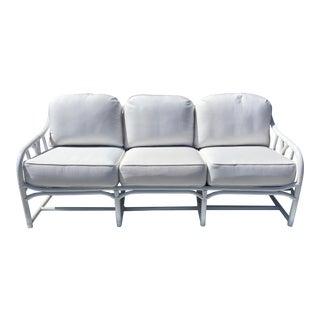 Vintage Ficks Reed Rattan White Sofa For Sale