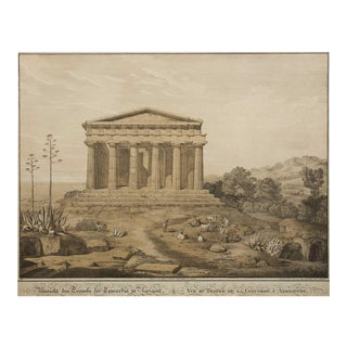 """19th Century Lithograph """"View of the Temple of Concordia, Agrigente"""" After Gaertner For Sale"""