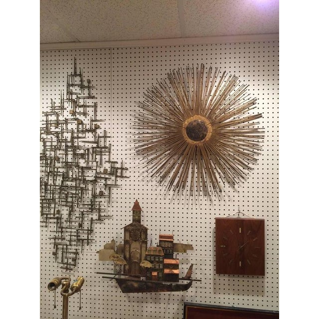Gold Mid-Century Brutalist Starburst Wall Sculpture For Sale - Image 8 of 11