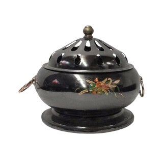 Chinese Thin Metal Metallic Gray Incense Burner For Sale