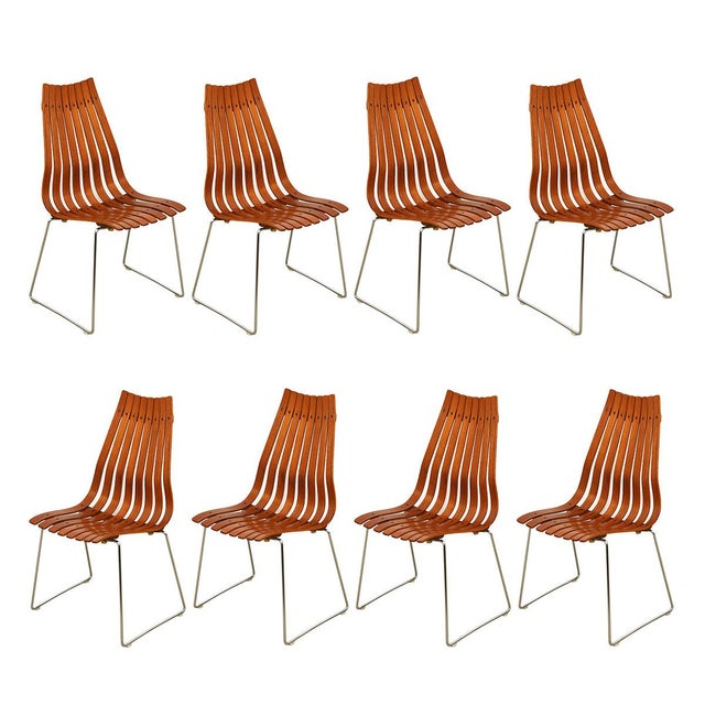 """Brown Set of 8 Norwegian Modern """"Scandia"""" Teak Dining Chairs by Hans Brattrud For Sale - Image 8 of 8"""