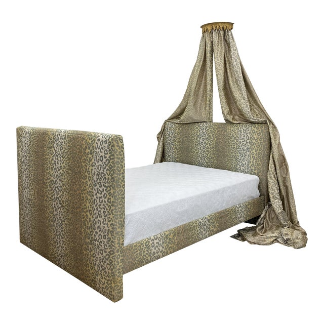 Contemporary Cheetah Upholstered Queen Bed with Italian Gold Leaf Corona For Sale