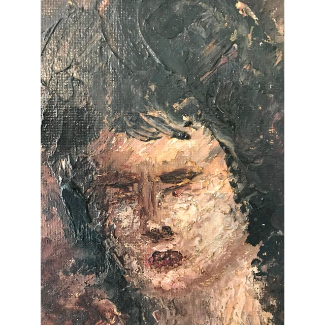 Vintage Impressionist Mild Impasto Paint Style Nude Portrait on Framed Board For Sale In Miami - Image 6 of 11
