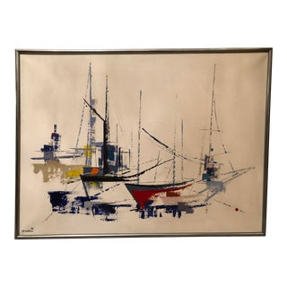 1970s Vintage Jp Collin Abstract Sailboat Painting For Sale