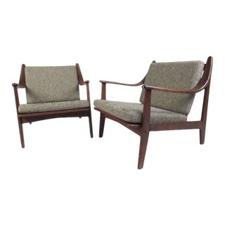 Pair of Mid-Century Finn Juhl Style Lounge Chairs For Sale