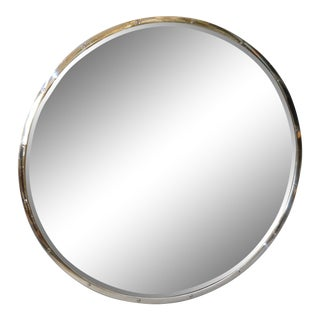 Design Institute of America 'Dia' Mid-Century Modern Round Beveled Chrome Mirror For Sale