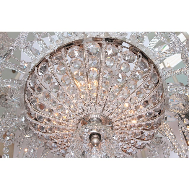 A Pair of Large Scale Majestic 24-Light Cut-Crystal Chandeliers For Sale - Image 9 of 12