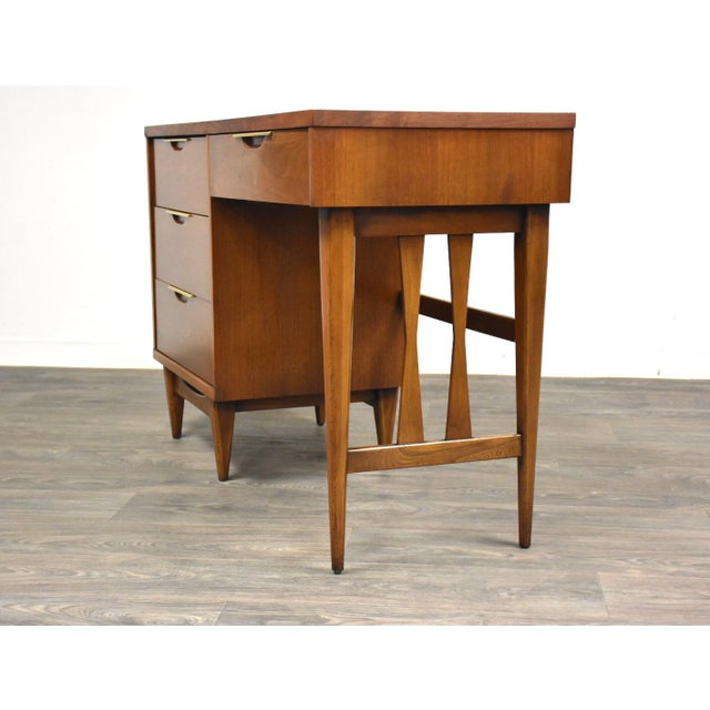 1950s Kent Coffey Tableau Walnut and Brass Desk For Sale - Image 5 of 12