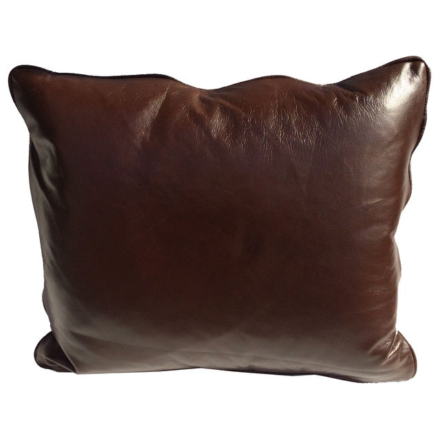 Designer Kuba Cloth & Italian Leather Pillow - Image 4 of 4